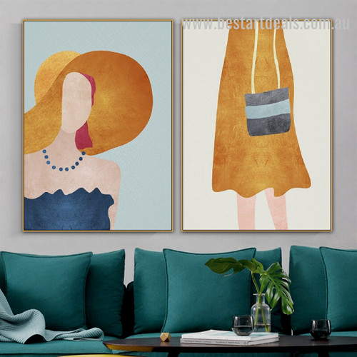 Modern Trendy Lady Abstract Figure Nordic Framed Portrayal Image Canvas Print For Room Wall Garniture