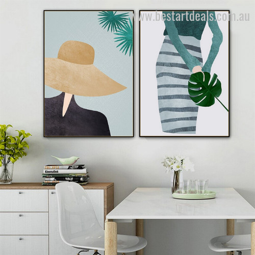 Philodendron Lady Contemporary Figure Vintage Modern Framed Painting Image Canvas Print for Room Wall Onlay