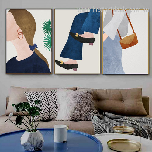 Sapphire Dolled Up Contemporary Figure Nordic Framed Painting Image Canvas Print for Room Wall Flourish