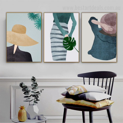 Vintage Hat Abstarct Figure Minimalist Nordic Framed Portrayal Photo Canvas Print for Room Wall Flourish