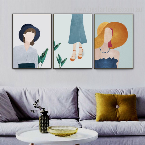 Fashion Girl Abstract Figure Nordic Framed Artwork Image Canvas Print for Room Wall Garniture