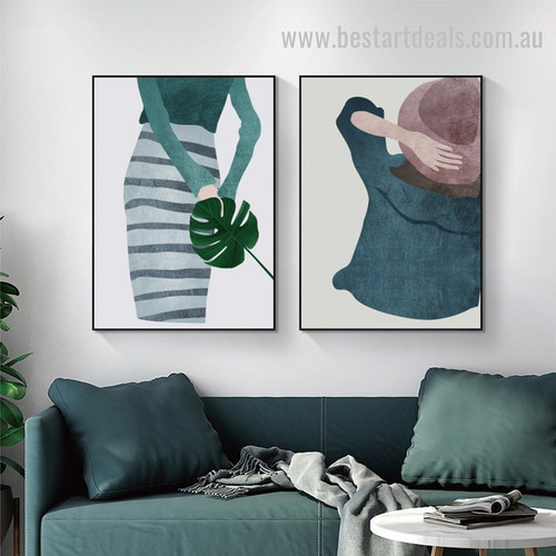 Asymmetrical Vesture Abstract Figure Vintage Nordic Framed Artwork Photo Canvas Print for Room Wall Garniture