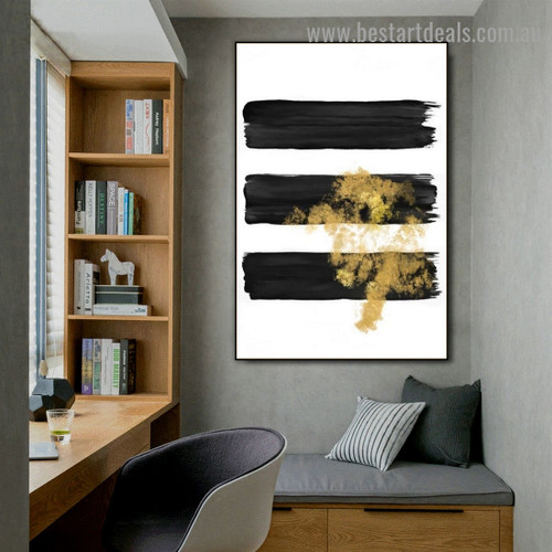 Golden Splash Modern Abstract Artwork Portrait Canvas Print for Room Wall Décor