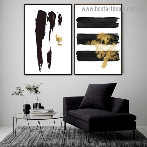 Brush Marks Modern Abstract Artwork Photo Canvas Print for Room Wall Decor