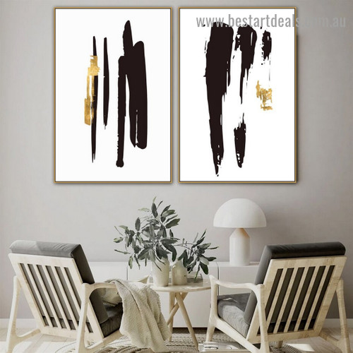 Black Golden Patterns Modern Abstract Artwork Portrait Canvas Print for Room Wall Decoration