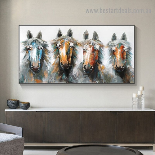 Four Horses Animal Abstract Modern Artwork Photo Canvas Print for Room Wall Adornment