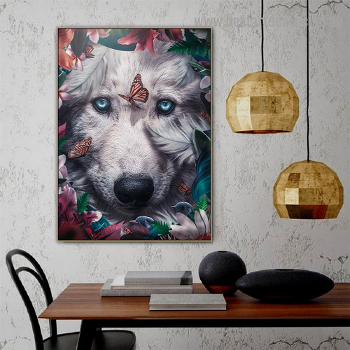 Floral Wolf Animal Nordic Abstract Photo Canvas Print for Room Wall Décor