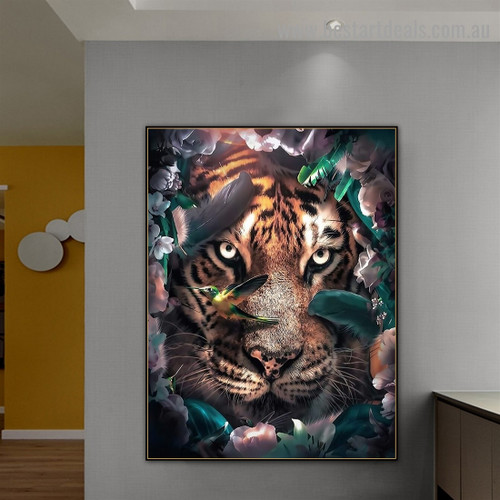 Siberian Tiger Animal Nordic Abstract Photo Canvas Print for Room Wall Ornament