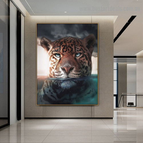 Underwater Leopard Animal Nordic Abstract Picture Canvas Print for Room Wall Adornment