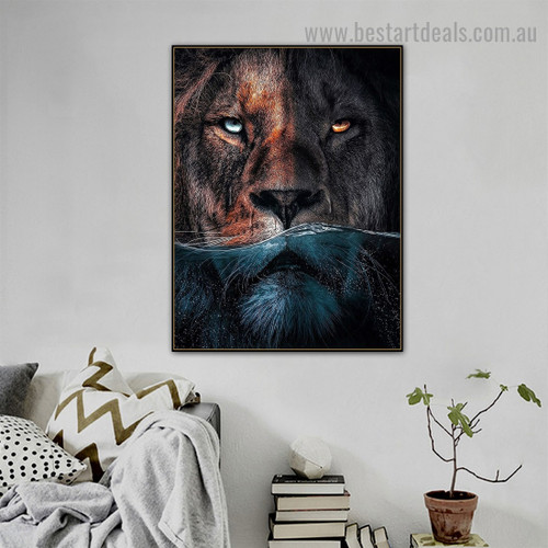 Sub Aquatic Lion Animal Nordic Abstract Picture Canvas Print for Room Wall Ornament