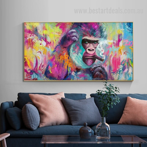 Smoking Ape Abstract Animal Graffiti Painting Photo Canvas Print for Room Wall Onlay
