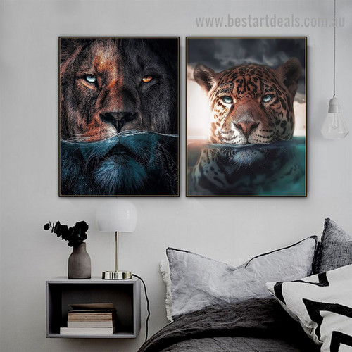 Blue Water Lion Animal Nordic Abstract Picture Canvas Print for Room Wall Adornment