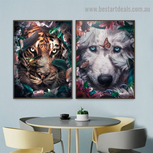 Blue Eyes Wolf Animal Nordic Abstract Picture Canvas Print for Room Wall Decoration