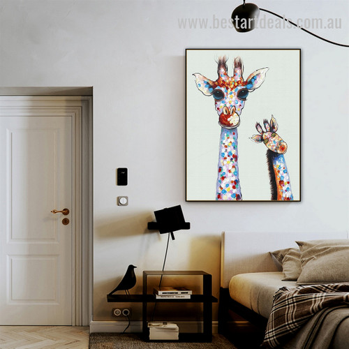 Sassy Giraffe Abstract Animal Graffiti Artwork Image Canvas Print for Room Wall Onlay