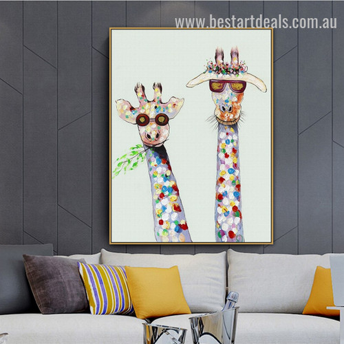Funny Giraffes Abstract Animal Graffiti Smudge Portrait Canvas Print for Room Wall Décor