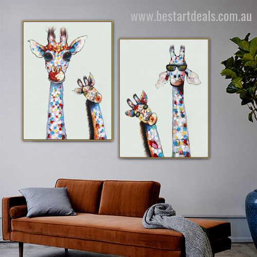 Curious Giraffes Family Abstract Animal Graffiti Smudge Image Canvas Print for Room Wall Adornment