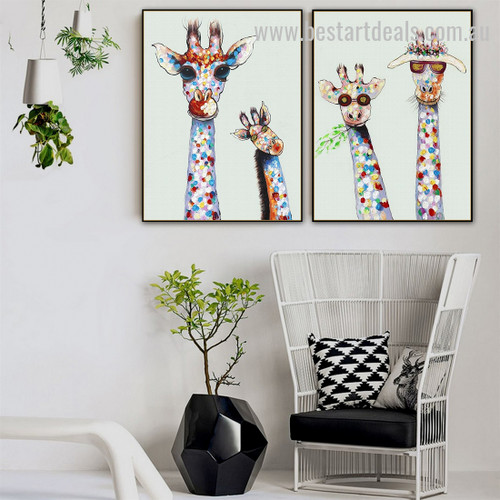Four Cool Camelopards Abstract Animal Graffiti Smudge Photo Canvas Print for Room Wall Garniture