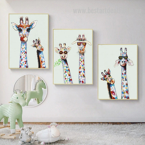 Giraffes Fashion Abstract Animal Graffiti Smudge Image Canvas Print for Room Wall Onlay