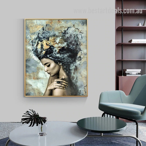 Sexy Woman Abstract Watercolor Figure Modern Smudge Image Canvas Print for Room Wall Flourish