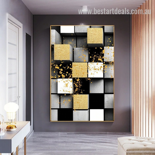 3D Cubes Abstract Nordic Geometric Modern Painting Photo Canvas Print for Room Wall Garniture
