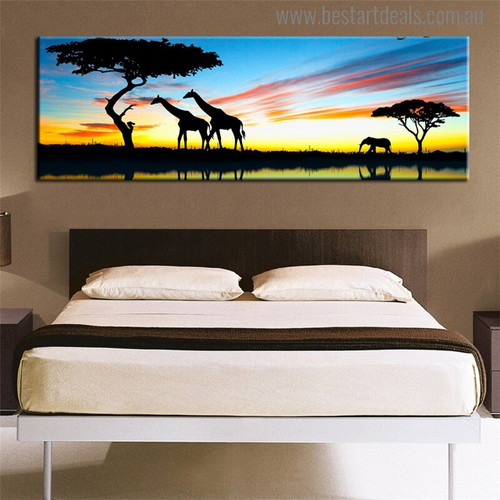 African Forest Modern Landscape Painting Print for Bedroom Decor