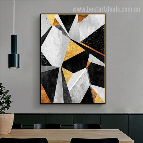 Black Yellow Marble Abstract Nordic Geometric Modern Painting Image Canvas Print for Room Wall Ornamentation