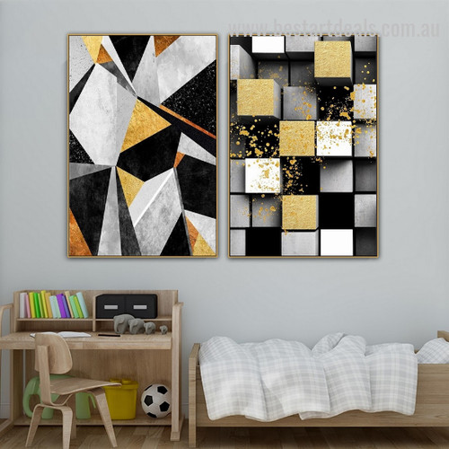 Gold Foil Contemporary Abstract Nordic Geometric Modern Smudge Image Canvas Print for Room Wall Garnish