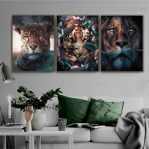 Floral Fearless Tiger Animal Nordic Abstract Portrait Canvas Print for Room Wall Décor