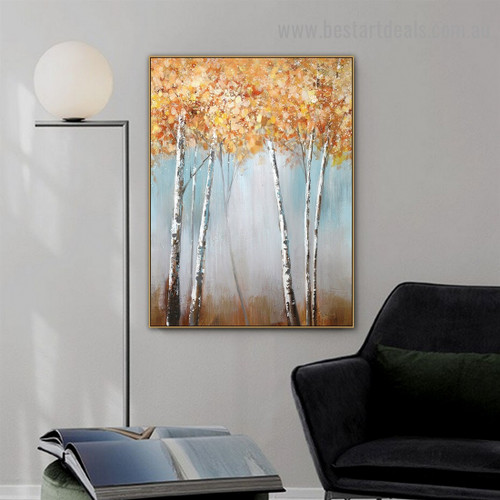 Gold Tree Botanical Modern Abstract Artwork Picture Canvas Print for Room Wall Decoration