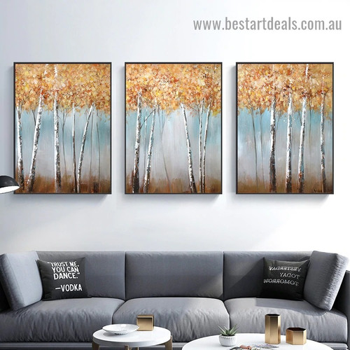 Paper Birch Tree Botanical Modern Abstract Artwork Picture Canvas Print for Room Wall Décor