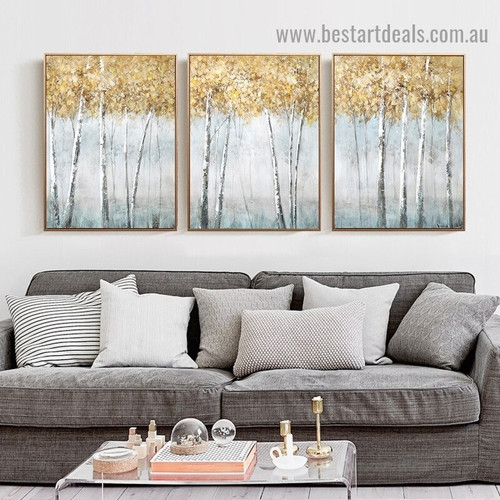Smoky Tree Forest Botanical Modern Abstract Artwork Portrait Canvas Print for Room Wall Adornment