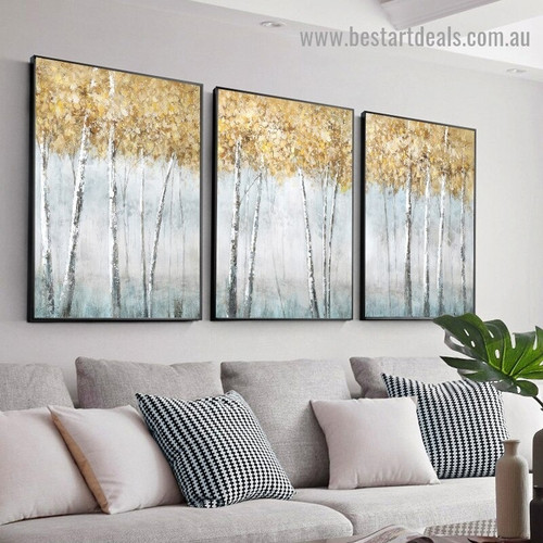 Smoky Tree Forest Botanical Modern Abstract Artwork Photo Canvas Print for Room Wall Ornament