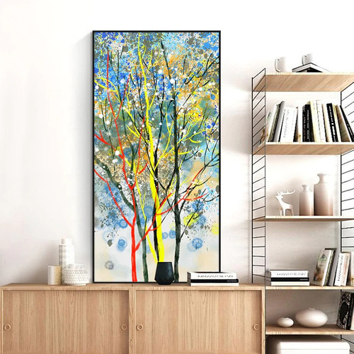 Motley Shrubs Abstract Botanical Watercolor Modern Painting Photo Canvas Print for Room Wall Garnish