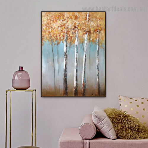 Silver Trees Botanical Modern Abstract Artwork Picture Canvas Print for Room Wall Decoration