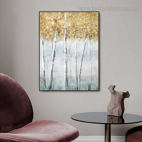 Foggy Trees Botanical Modern Abstract Artwork Portrait Canvas Print for Room Wall Ornament
