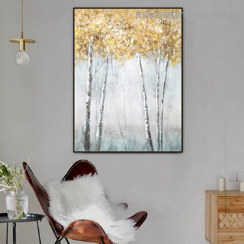 Golden Leaflet Arbor Botanical Modern Abstract Artwork Photo Canvas Print for Room Wall Decoration