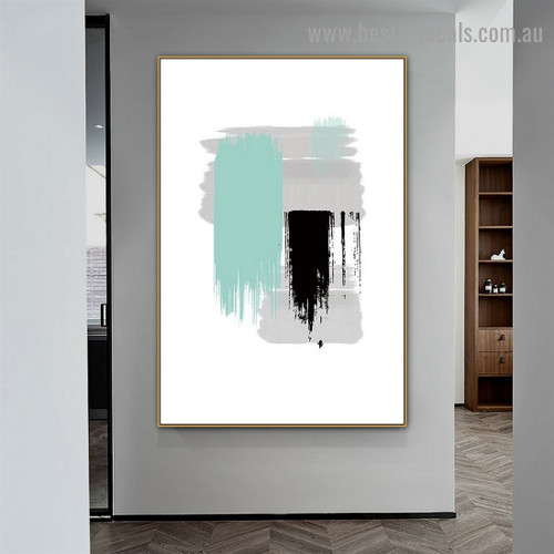 Heavy Brush Strokes Abstract Modern Artwork Portrait Canvas Print for Room Wall Adornment