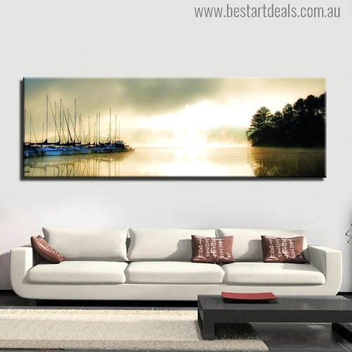 Riverside Landscape Modern Painting Canvas Print for Living Room Decor