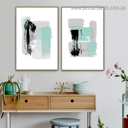 Black Grey Stroke Abstract Modern Artwork Portrait Canvas Print for Room Wall Ornament