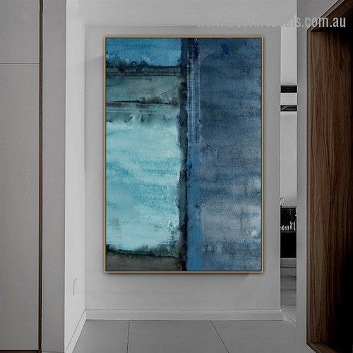 Blue Oil Painting Abstract Modern Artwork Portrait Canvas Print for Room Wall Ornament