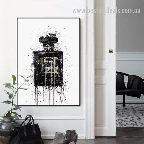 Black Perfume Abstract Retro Modern Painting Image Canvas Print for Room Wall Garnish