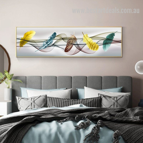 Flowing Feathers Abstract Modern Smudge Image Canvas Print for Room Wall Garnish
