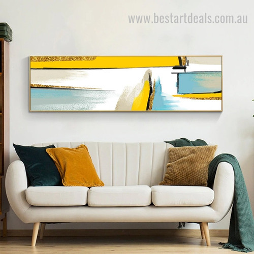 Gold Sea Abstract Landscape Modern Smudge Photo Canvas Print for Room Wall Décor