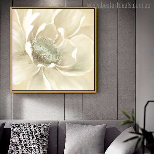 Winter Blooms Abstract Watercolor Painting Print for Living Room Decor