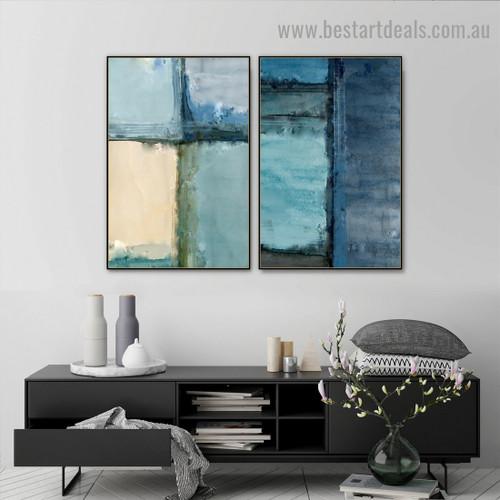 Blue Wall Bricks Abstract Modern Artwork Photo Canvas Print for Room Wall Decoration