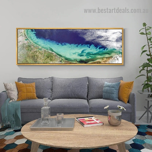 Blue Green Sea Landscape Abstract Modern Artwork Portrait Canvas Print for Room Wall Adornment