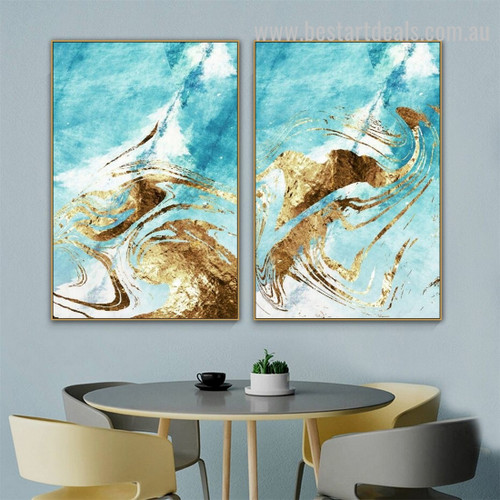 Eddy Waves Abstract Modern Painting Image Canvas Print for Room Wall Garniture