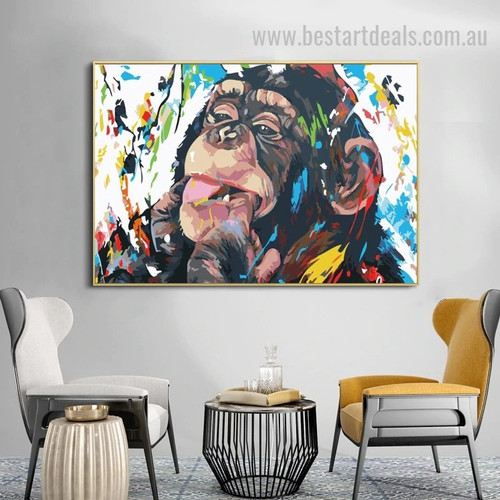 Hilarious Orangutan Abstract Animal Graffiti Effigy Photo Canvas Print for Room Wall Decor