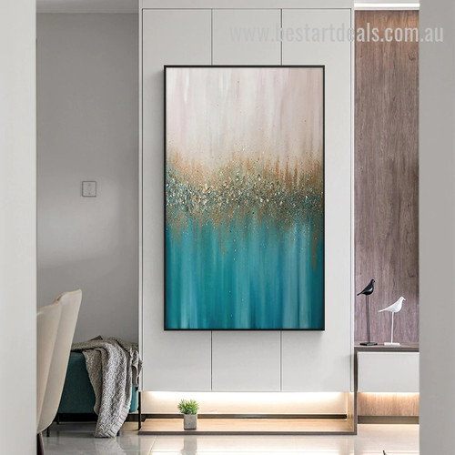 Gilded Silver Drops Abstract Minimalist Modern Painting Pic for Room Wall Adornment