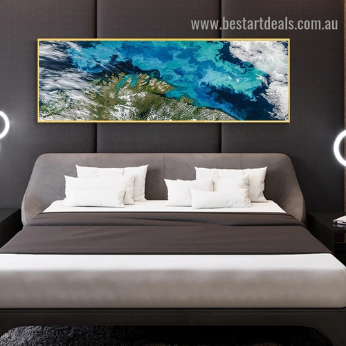 Sea Blue Landscape Abstract Modern Artwork Portrait Canvas Print for Room Wall Decoration